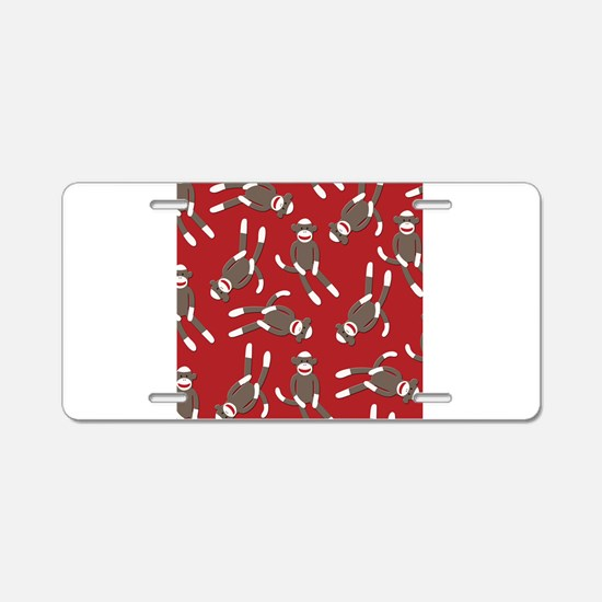 Red Sock Monkey Print Aluminum License Plate