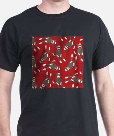 Red Sock Monkey Print T-Shirt