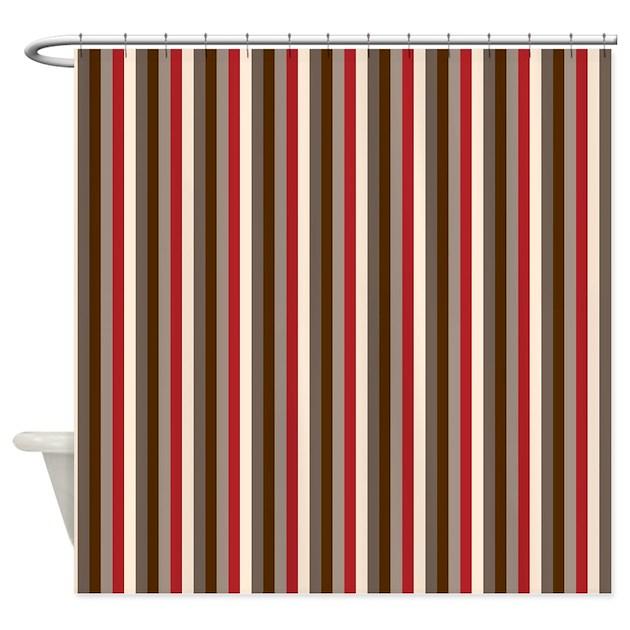 red gray brown stripes shower curtain by printedlittletreasures. Black Bedroom Furniture Sets. Home Design Ideas