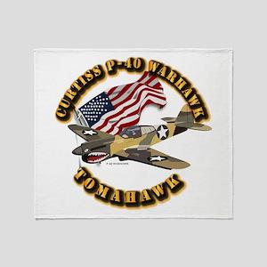 Aircraft - P40 Warhawk Throw Blanket