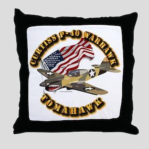 Aircraft - P40 Warhawk Throw Pillow