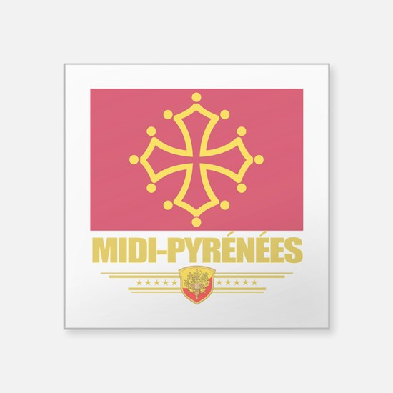 "Midi-Pyrenees (Flag 10).png Square Sticker 3"" x 3"""