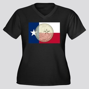 Texas Quarter 2004 Women's Plus Size V-Neck Dark T