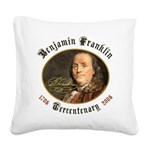 Ben Franklin Tercentenary Square Canvas Pillow