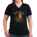 Ben Franklin Tercentenary Women's V-Neck Dark T-Sh