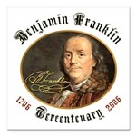 Ben Franklin Tercentenary Square Car Magnet 3""