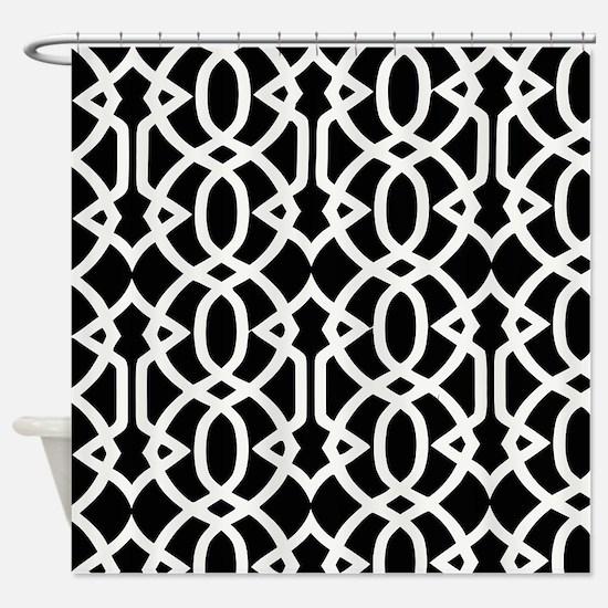 Black & White Trellis Shower Curtain