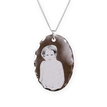 Golden Street Child Necklace Oval Charm