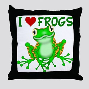 I Love (Heart) Frogs Throw Pillow