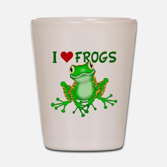 I Love (Heart) Frogs Shot Glass