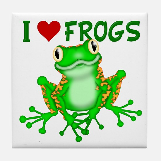 I Love (Heart) Frogs Tile Coaster