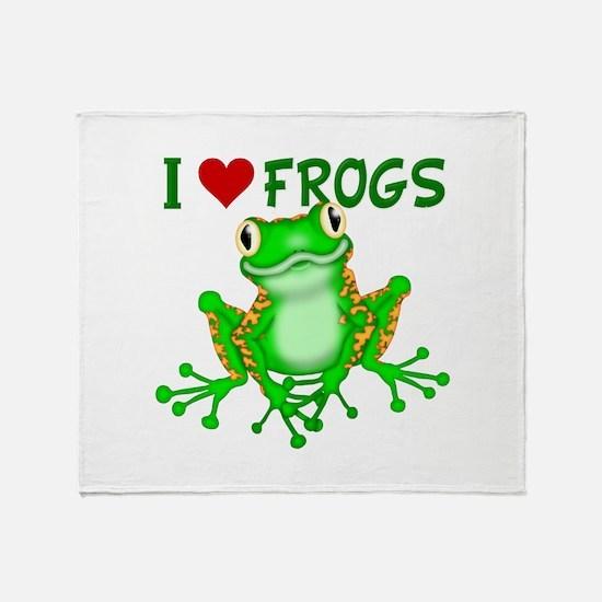 I Love (Heart) Frogs Throw Blanket