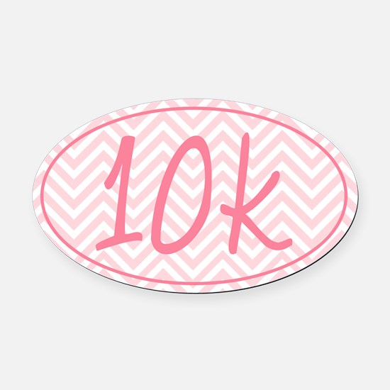 10k Pink Chevron Oval Car Magnet