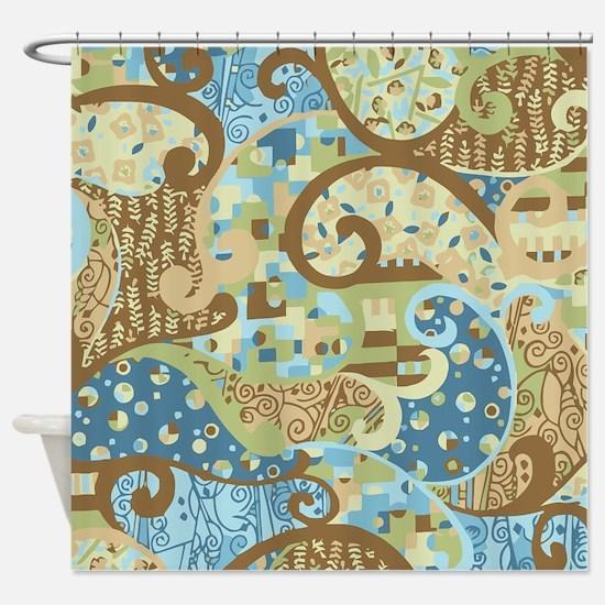 Blue Klimt Paisley Shower Curtain