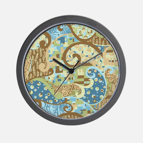 Blue Klimt Paisley Wall Clock