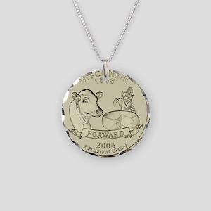 Wisconsin Quarter 2004 Basic Necklace Circle Charm