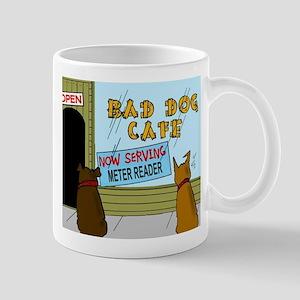 Menu at the Bad Dog Cafe Cartoon Mug