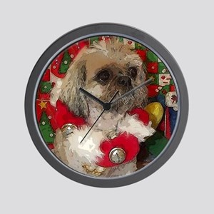 Shih Tzu Dog Pop Art Christmas Sandy Wall Clock