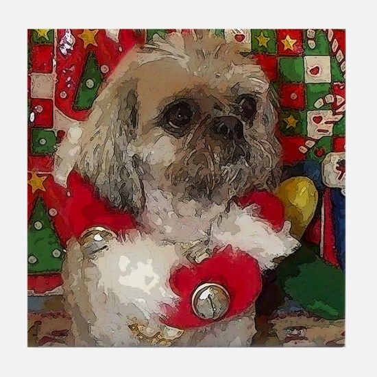 Shih Tzu Dog Pop Art Christmas Sandy Tile Coaster