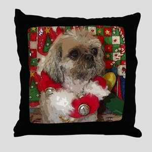 Shih Tzu Dog Pop Art Christmas Sandy Throw Pillow