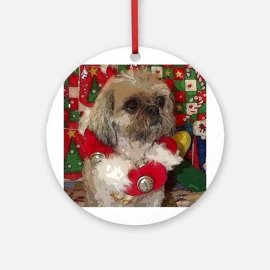 Shih Tzu Dog Pop Art Christmas Sandy Ornament (Rou