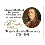 Ben Franklin on Blockheads Small Poster