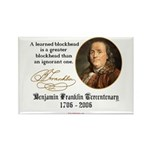 Ben Franklin on Blockheads Rectangle Magnet (10 pa