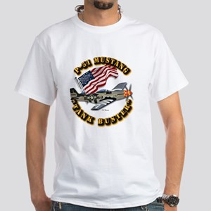 Aircraft - P51 Mustang White T-Shirt