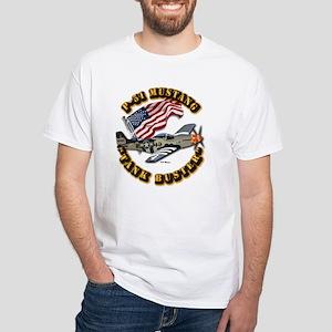 Aircraft - P51 Mustang White T-Shirt