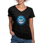 44 Squared Obama Women's V-Neck Dark T-Shirt