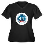 44 Squared Obama Women's Plus Size V-Neck Dark T-S