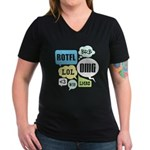Text Shortcuts Women's V-Neck Dark T-Shirt