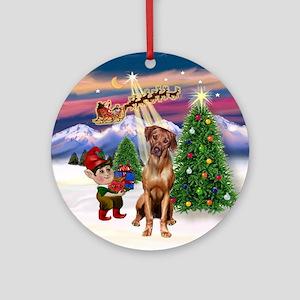 Santa's Take Off-Rhodesian (2) Ornament (Round)