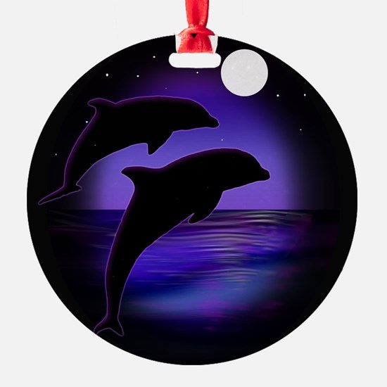 Dolphins At Midnight Ornament
