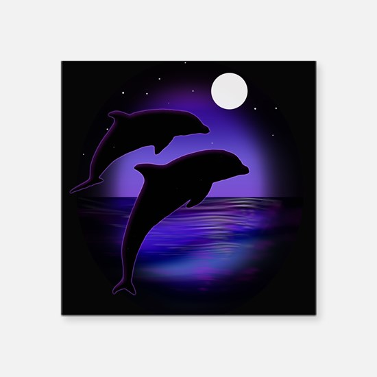 "Dolphins At Midnight Square Sticker 3"" x 3"""