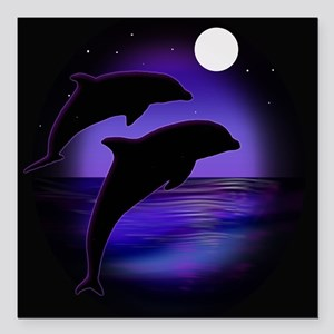 "Dolphins At Midnight Square Car Magnet 3"" x 3"""