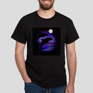 Dolphins At Midnight Dark T-Shirt