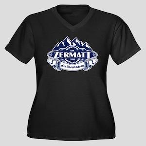Zermatt Mountain Emblem Women's Plus Size V-Neck D