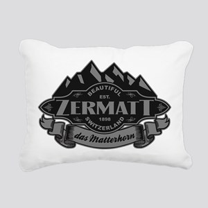 Zermatt Mountain Emblem Rectangular Canvas Pillow