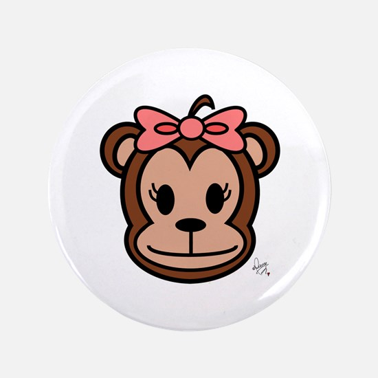"""Cute Monkey girl with pink bow 3.5"""" Button"""