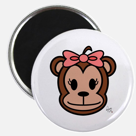 Cute Monkey girl with pink bow Magnet