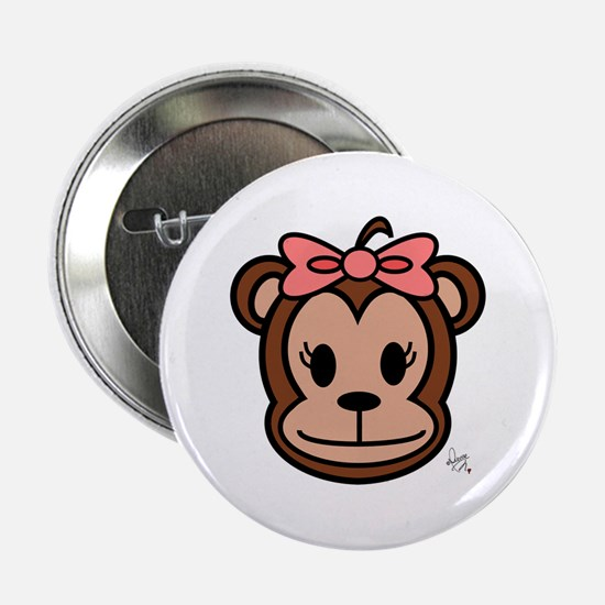 """Cute Monkey girl with pink bow 2.25"""" Button"""