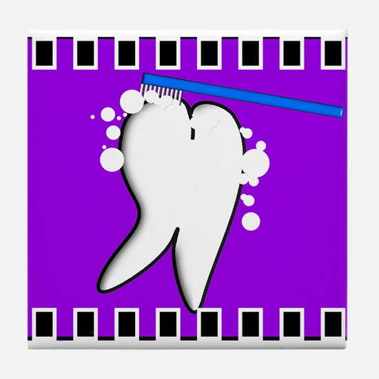 tooth blanket 5 purple.PNG Tile Coaster
