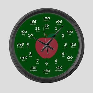 Chalkboard Apple Hour Minute Large Wall Clock