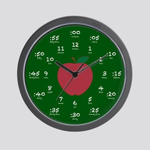 Chalkboard Apple Hour Minute Wall Clock