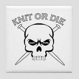 Knit or Die Tile Coaster