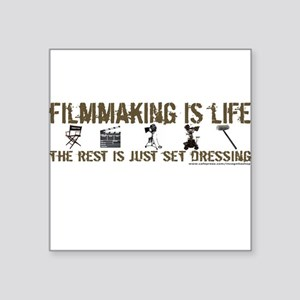 "3-t-shirt-filmmaking-black Square Sticker 3"" x"