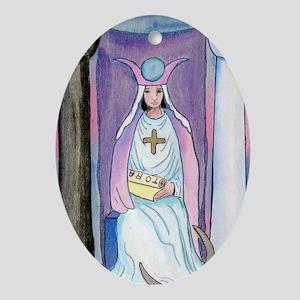 Tarot High Priestess Rider Oval Ornament