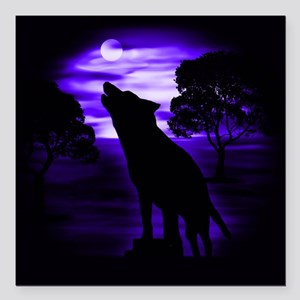 "Wolf Howling copy Square Car Magnet 3"" x 3"""
