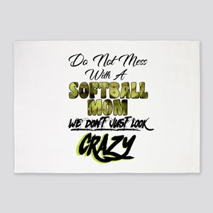 don't mess with a softball mom 5'x7'Area Rug